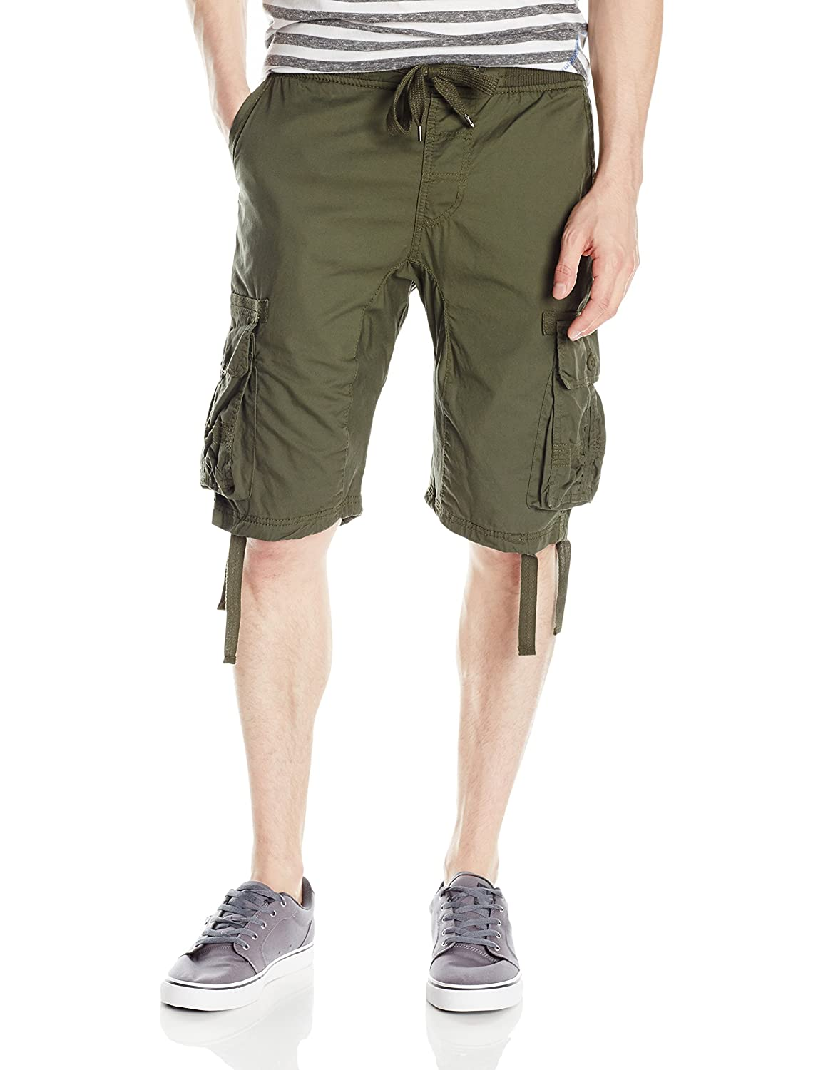 Southpole Mens Jogger Shorts with Cargo Pockets in Solid and Camo Colors 9001-3366
