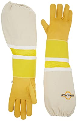 NATURAL APIARY - Cowhide - Beekeeping Gloves - Ventilated Sleeves - Sting Proof Cuffs - Extra Long Extra Long Twill Elasticated Gauntlets - X Large
