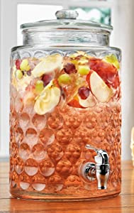 Retro Galaxy Durable Glass Beverage Drink Dispenser with Spigot,Easy Push Spigot (2 Gallons)
