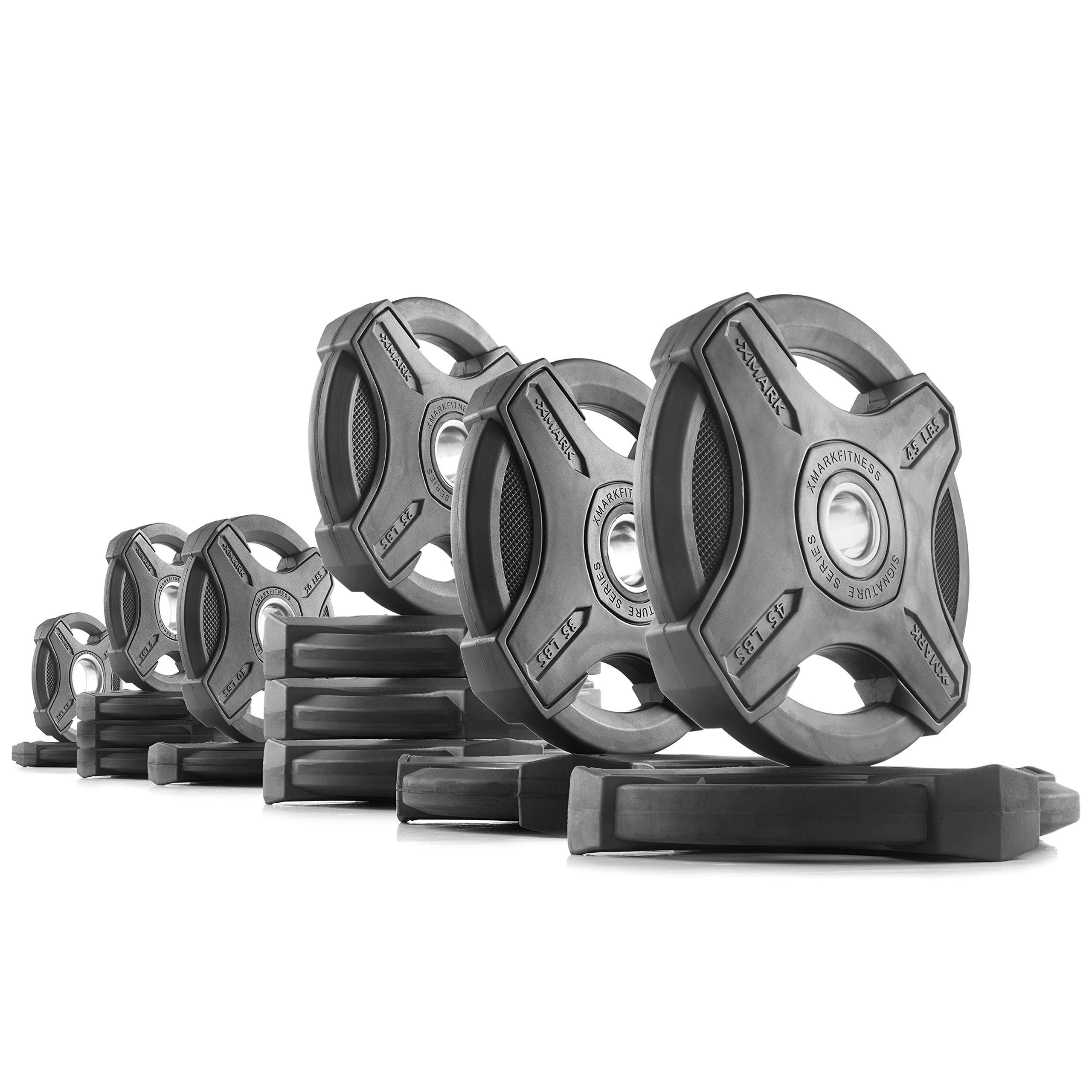XMark 305 lb Set Signature Plates, One-Year Warranty, Olympic Weight Plates, Cutting-Edge Design