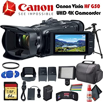 Amazon Com Canon Vixia Hf G50 Uhd 4k Camcorder Black 3667c002 With Extra Battery Uv Filter Tripod Padded Case Led Light 64gb Memory Card And More Starter Bundle Electronics
