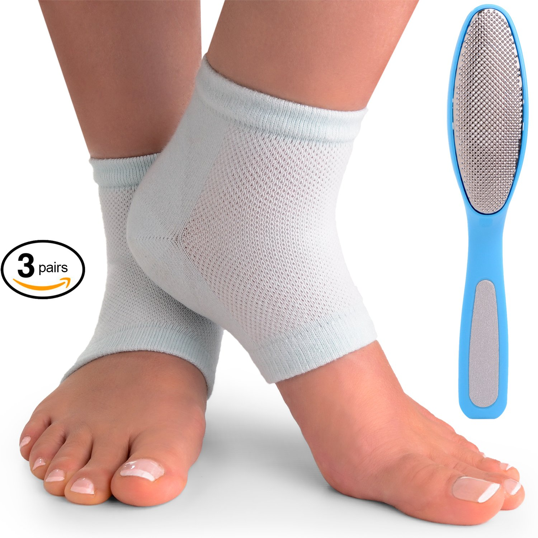 Cracked Heels Moisturizing Gel Socks + Bonus Gift – Softening Essential Oil Infused Sleeves for Women & Men| Soothing Spa Vented Rough Skin Treatment for Dry Feet | Moisturizer Repair - by CareMe+ by CareMe+ (Image #1)