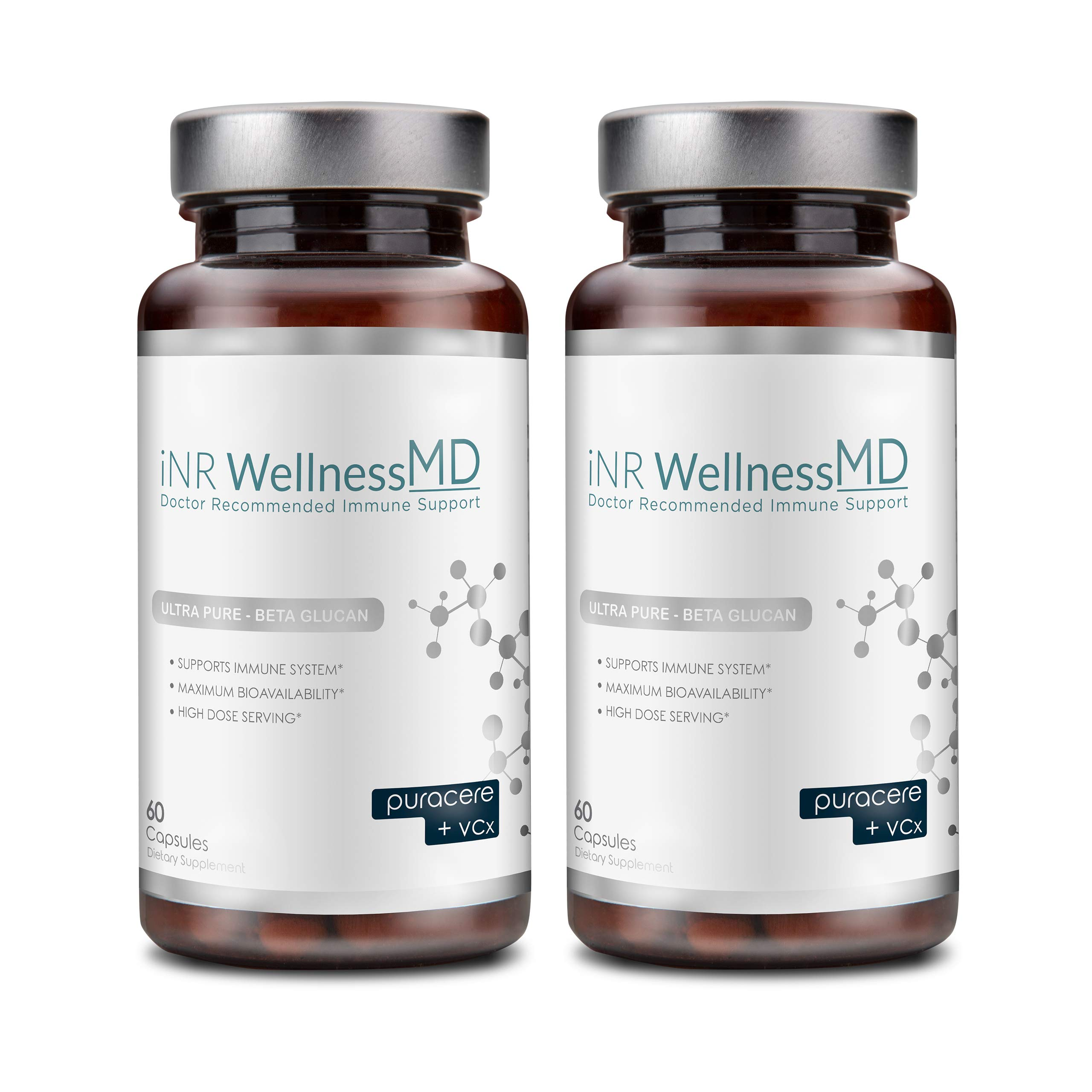 Inr Wellness MD - Ultra-Pure Beta-Glucan | Dietary Supplement with PURACERE (VCx) for Immune Support | 508mg (120 Caps)