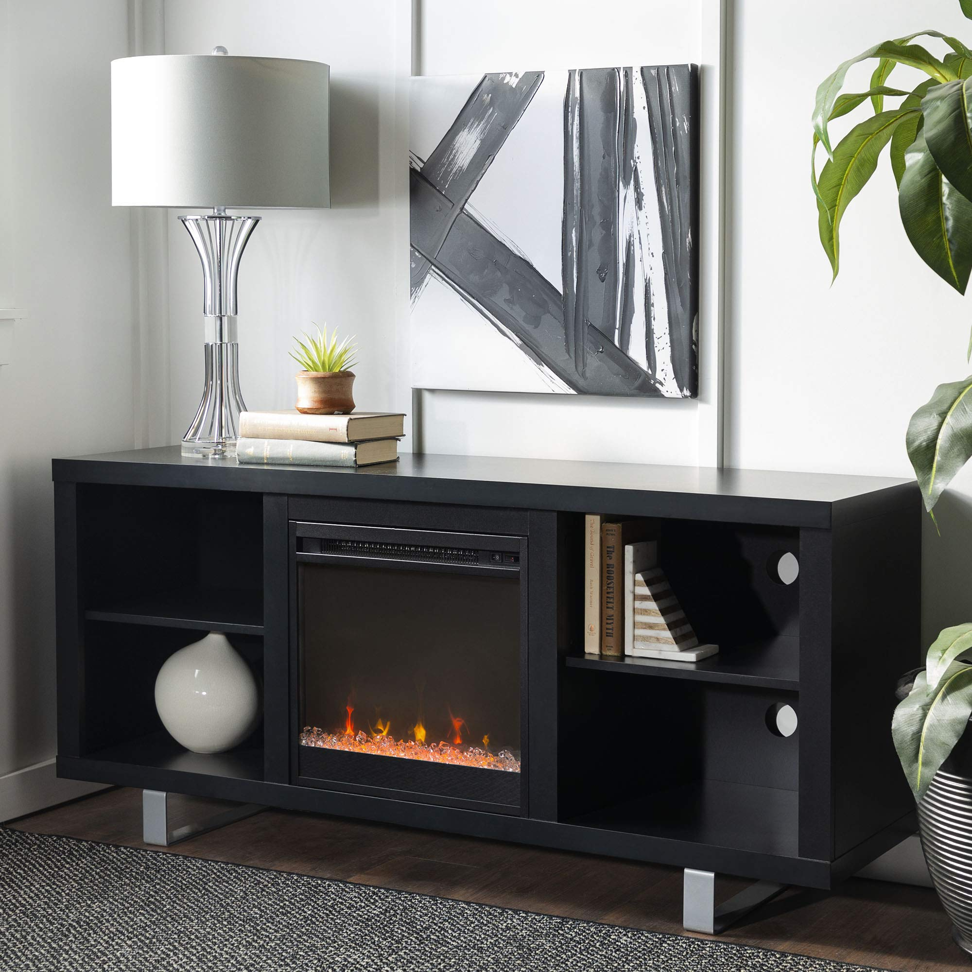 WE Furniture 58'' Simple Modern Fireplace TV Console, Black by WE Furniture