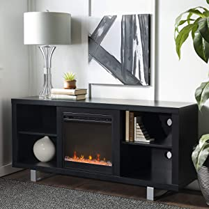 "WE Furniture 58"" Simple Modern Fireplace TV Console, Black"