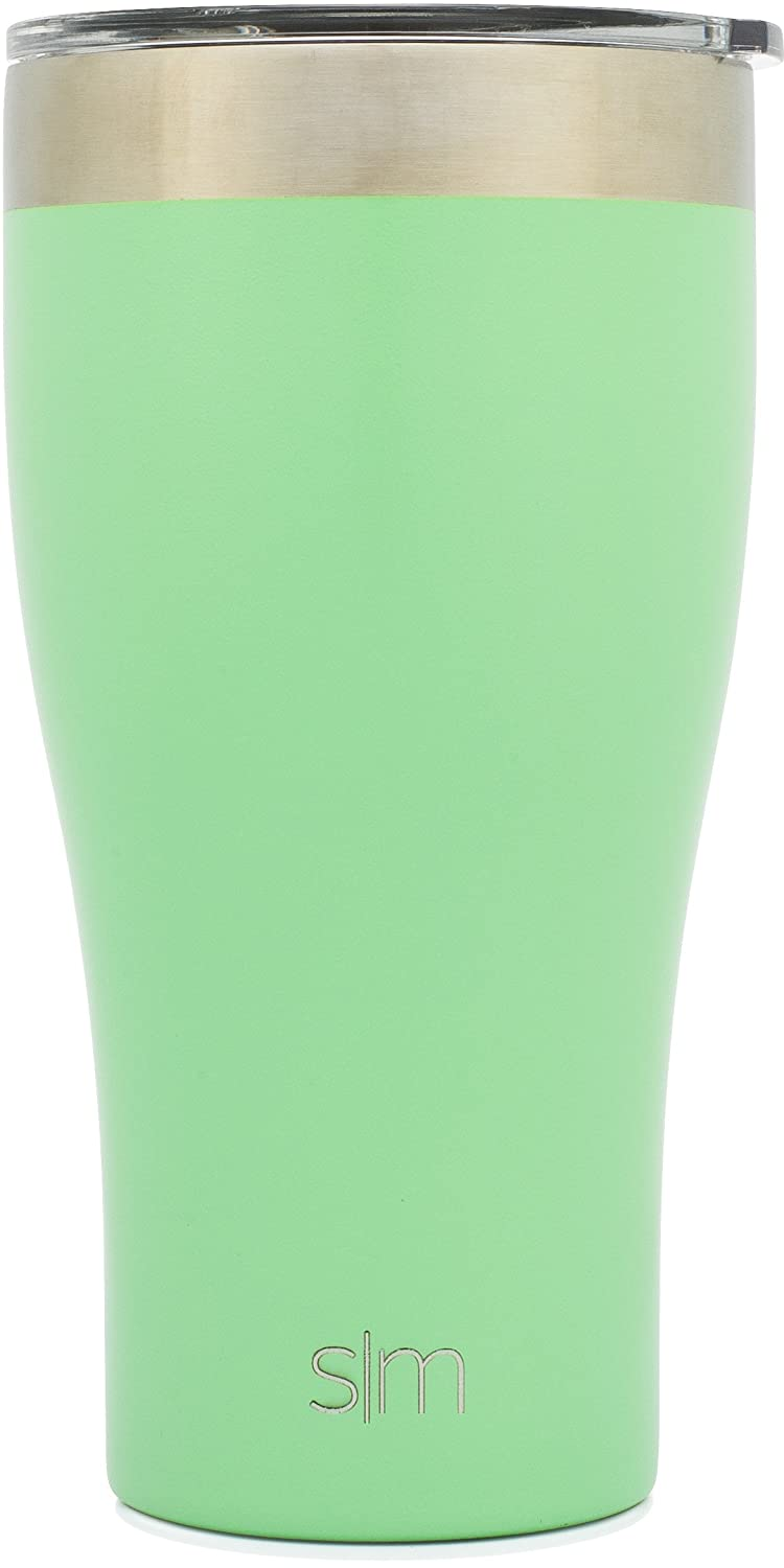 Simple Modern Tumbler Vacuum Insulated 24oz Slim Cruiser with Lid - Double Walled Stainless Steel Travel Mug - Sweat Free Coffee Cup - Powder Coated Flask - Mint Green