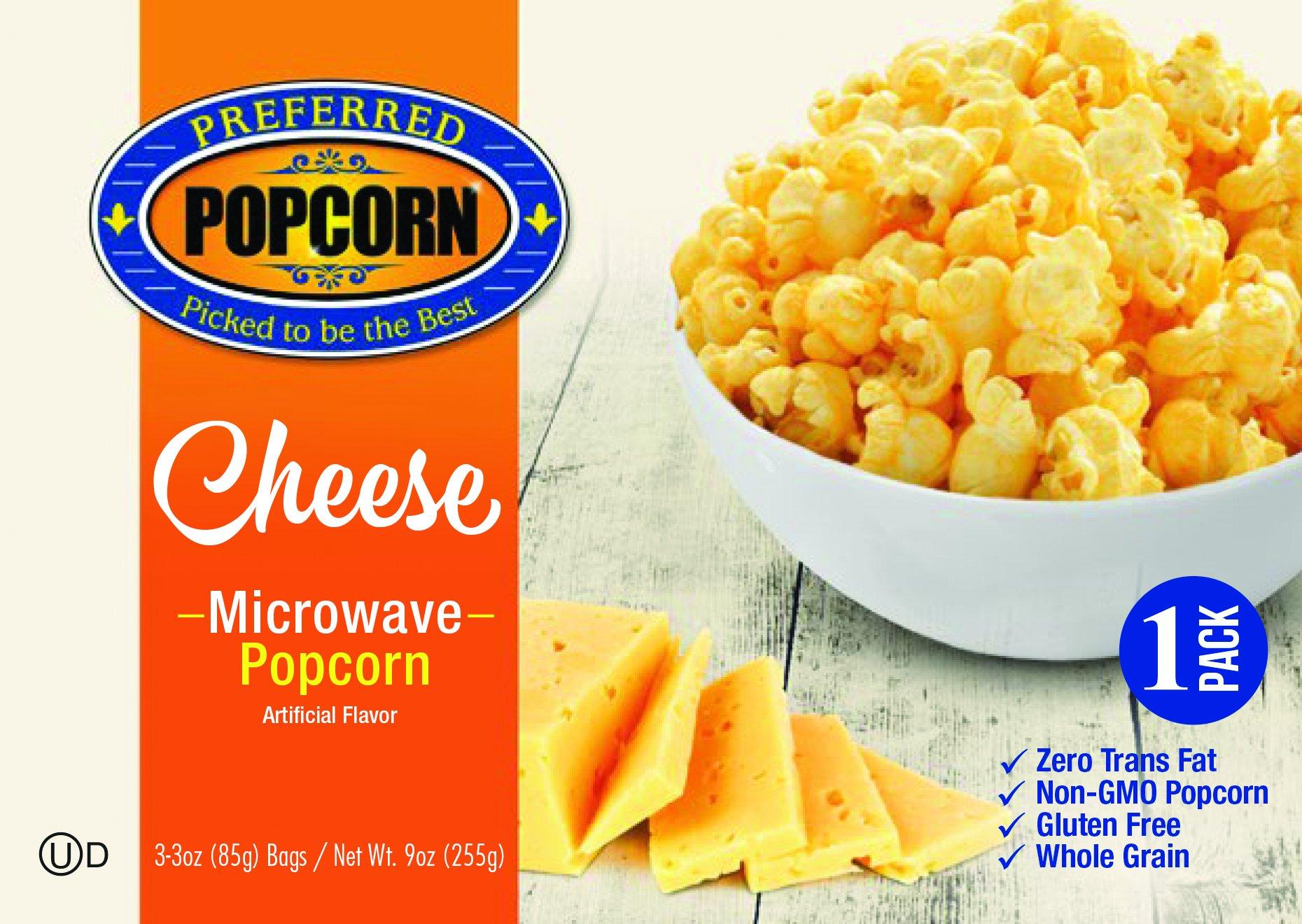 Microwave Cheese Popcorn - Preferred Popcorn - 100% Farmer Owned - Non GMO - Gluten Free - Whole Grain - One 3.0 oz Bag - Made in USA - Made in Nebraska - Real Cheese Flavor - Cheesy Snack