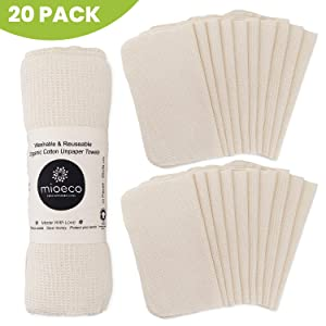 Reusable Unpaper Towels Washable - Bamboo Eco Friendly Paper Towels Organic Cotton - Thick, Strong, Paperless Kitchen Roll - Reusable Napkins - Zerowaste - 20 Pack
