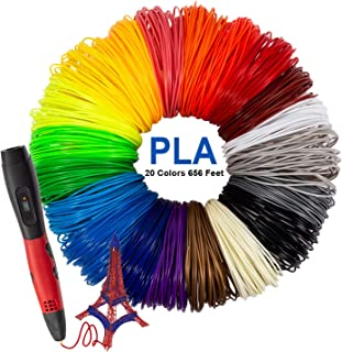1.75mm PLA Filament Pack of 20 Different Colors Stencil eBook for Kids Adults Arts Crafts