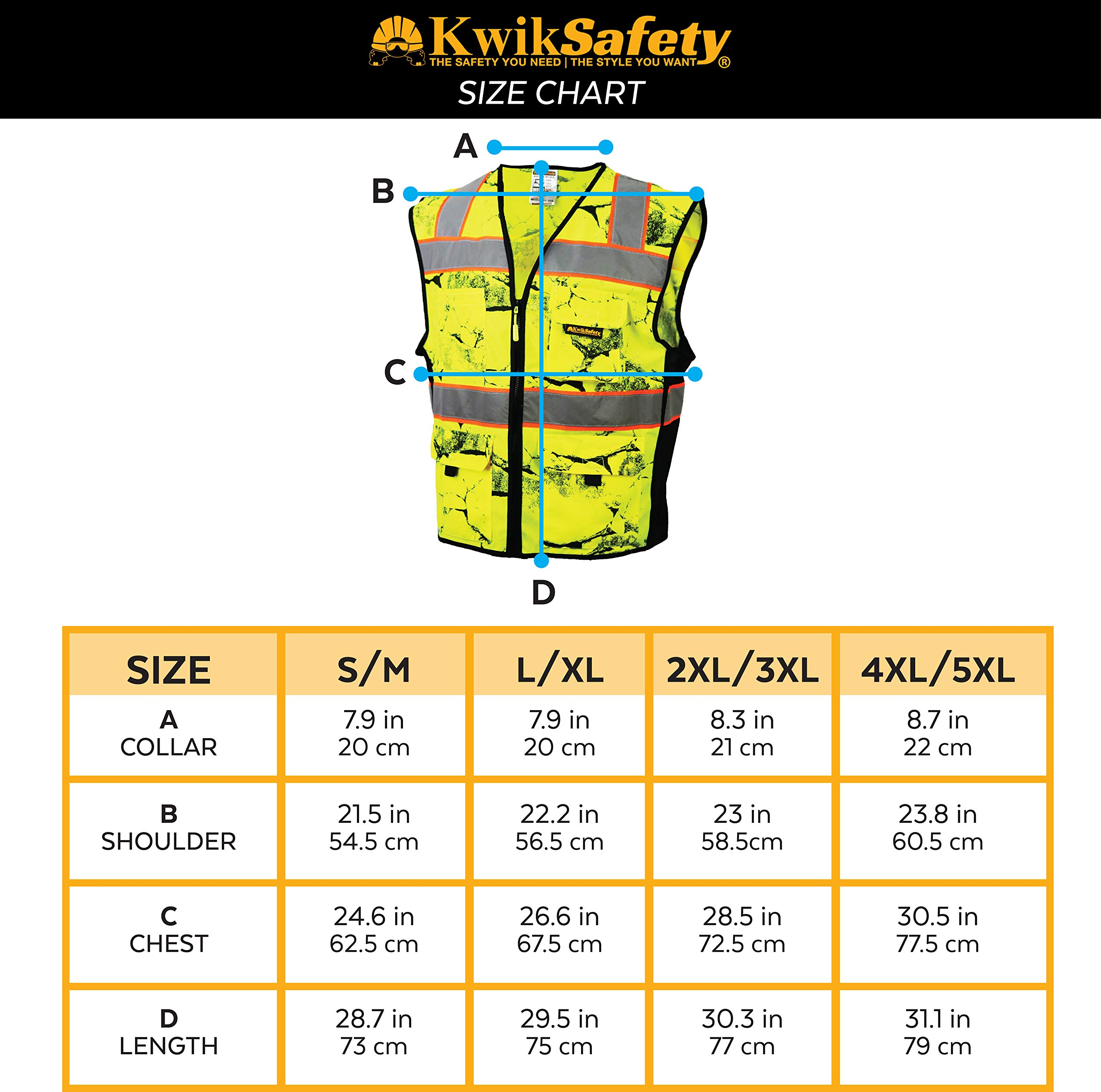 KwikSafety (Charlotte, NC) UNCLE WILLY'S WALL (10 Pockets) Class 2 ANSI High Visibility Reflective Safety Vest Heavy Duty Mesh with Zipper and HiVis for Construction Work HiViz Men Yellow Black L/XL by KwikSafety (Image #6)