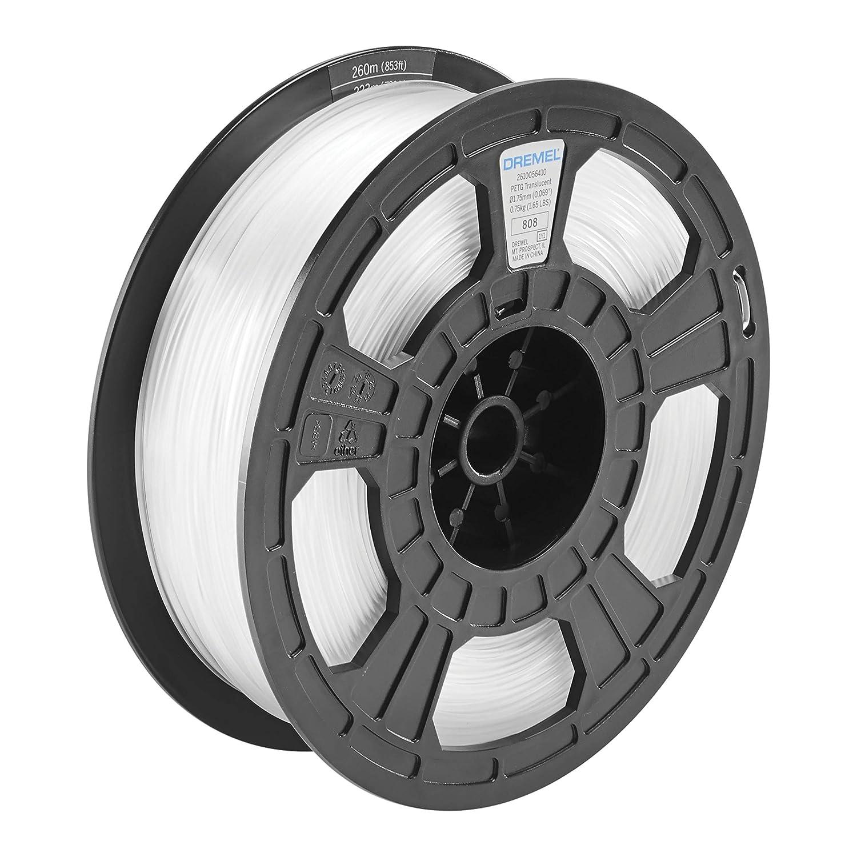 Dremel DigiLab PETG-TRA-01 3D Printer Filament, 1.75 mm Diameter, 0.75 kg Spool Weight, Color Translucent, RFID Enabled, New Formula and 50 Percent More per Spool