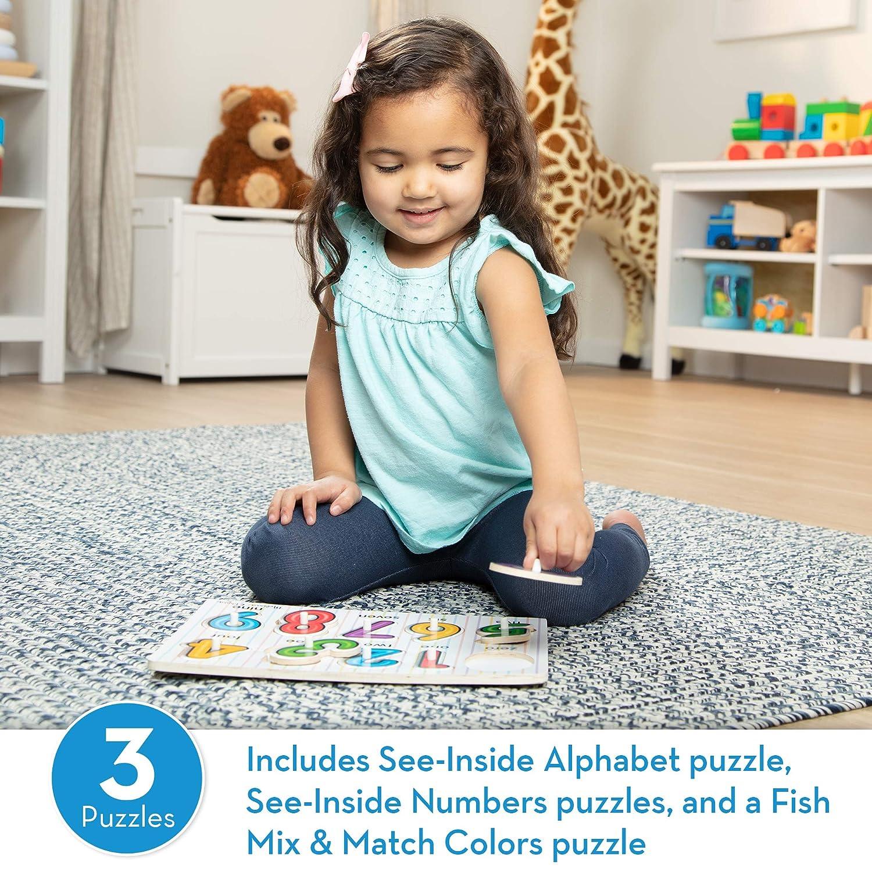 Melissa /& Doug Classic Peg Puzzle Bundle 3 Puzzle Bundle