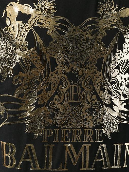 76cb22b65b Pierre Balmain Koi & Logo Gold Print Tee, Black ($250) | Amazon.com