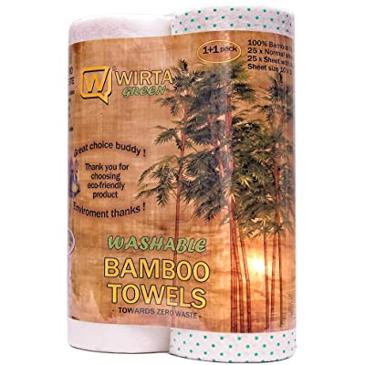 Wirta Reusable Bamboo Paper Towels - 1+1 Rolls (25 Normal+25 scrub dotted sheet) of Bamboo Unpaper Towels - Zero Waste and your cash saved with our reusable bamboo towels/reusable paper towels: Kitchen & Dining