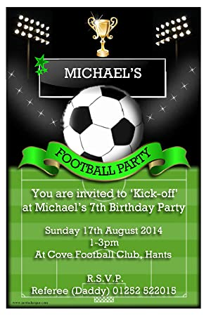 10 Personalised Football Soccer Party Invitations N108 Amazonco