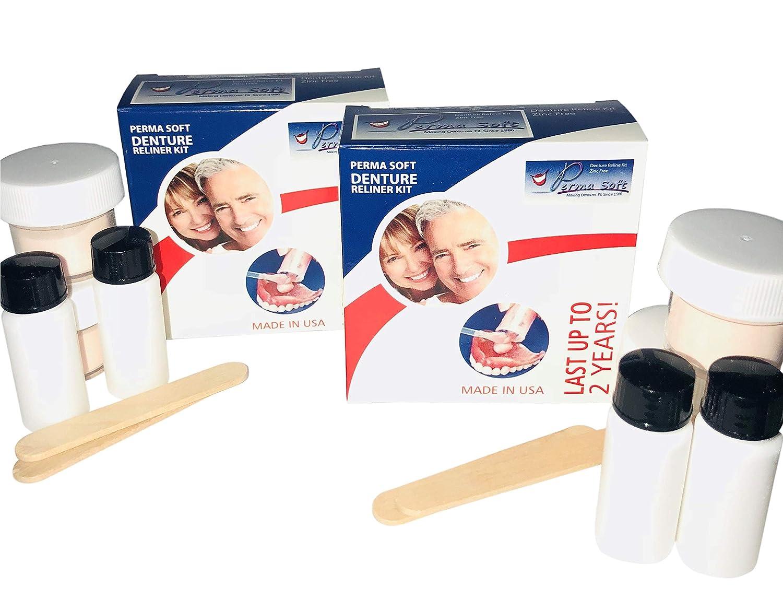 Perma Soft Denture Reline Kit- 2 Boxes (relines 4 dentures) : Beauty