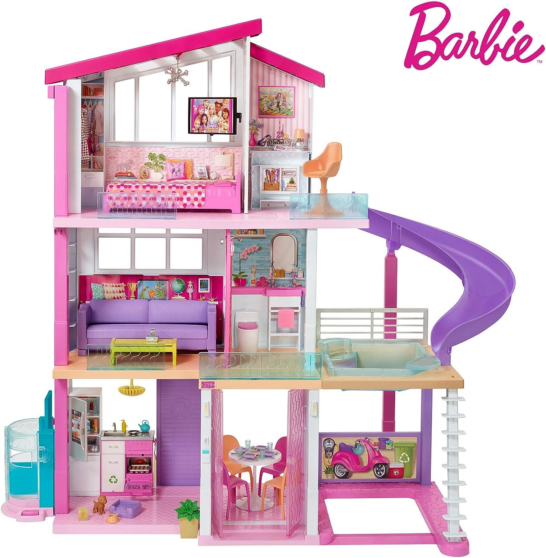 Barbie Mobilier Dreamhouse Maison De Poupees A Deux Etages Avec