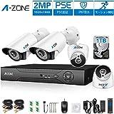 A-ZONE 防犯カメラセット AHD DVRドーム型カメラ2台+スタンダード型カメラ2台 4CH 1080P 200万画素 高画質 ハイビジョン 赤外線暗視 CCTVセキュリティカメラシステム スマホ/パソコン遠隔監視対応 動体検知 防水防塵仕様 屋内/屋外兼用(HDD 1TB付き)