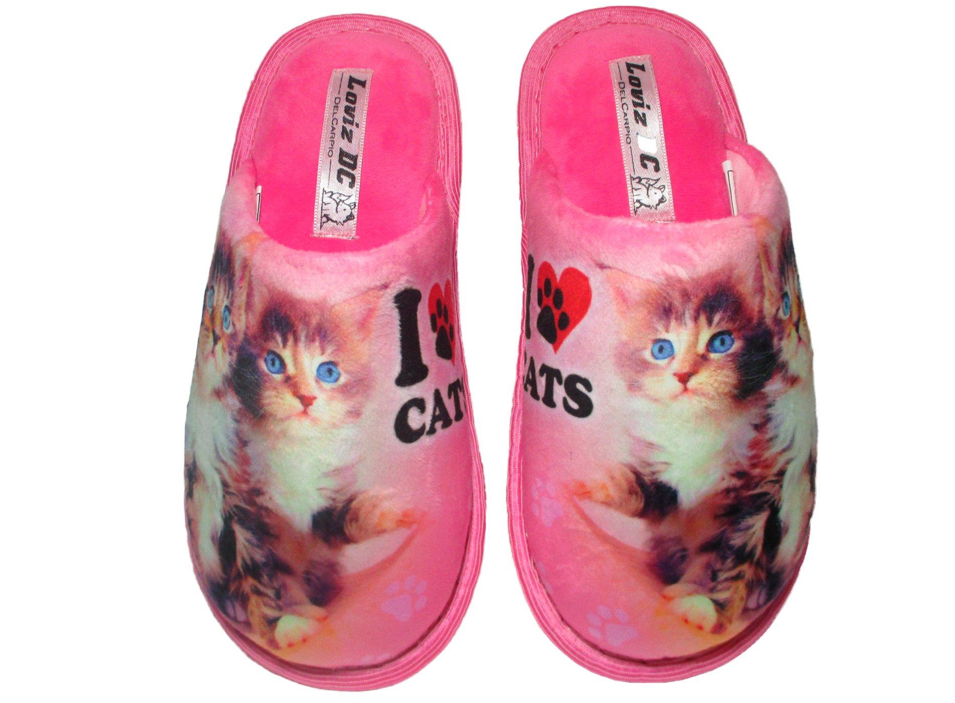 Loviz DC Cute Cat 3D Print Slippers Scuff Warm Velvet Non-Slip Sole Indoor Outdoor (7-8 (B) M, Love Cats)