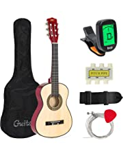 Best Choice Products 30in Kids Classical Acoustic Guitar Beginners Set w/Carry Bag, Picks, E-Tuner, Strap - Natural