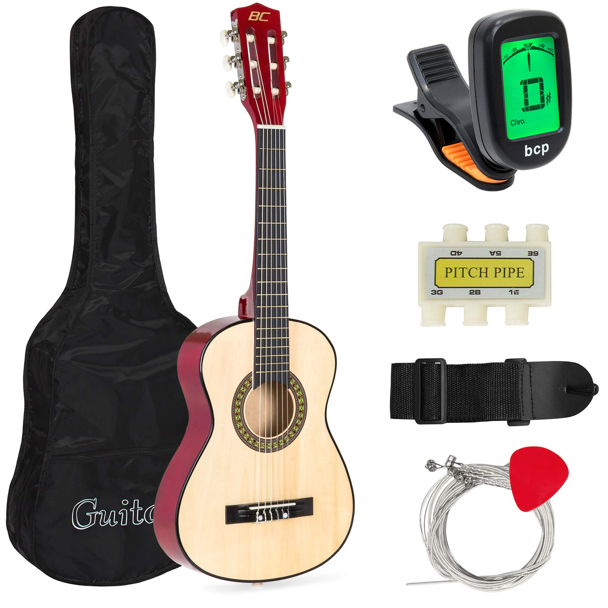 Best Choice Products 30in Kids Classical Acoustic Guitar Beginners Set w/Carry Bag, Picks, E-Tuner, Strap - Natural by Best Choice Products