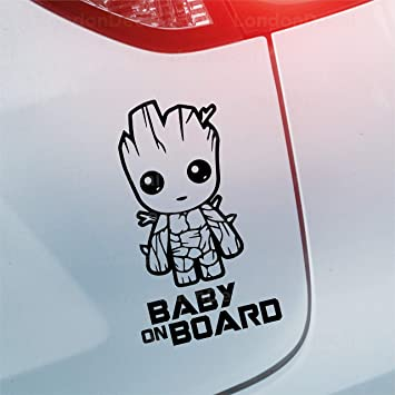 Londondecal Baby On Board Autoaufkleber Aus Vinyl Baby Groot Guardians Of The Galaxy Auto