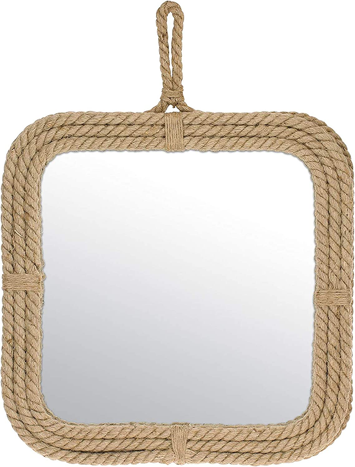 Stonebriar Small Square Rope Mirror for Wall, Light Weight, Rustic Decoration