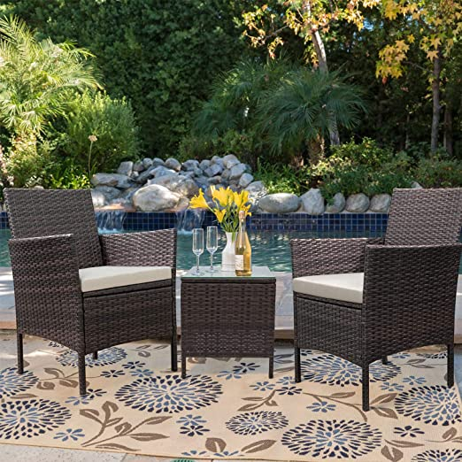 43d1d3880ad Amazon.com  Devoko Patio Porch Furniture Sets 3 Pieces PE Rattan Wicker  Chairs Beige Cushion with Table Outdoor Garden Furniture Sets (Brown)   Garden   ...