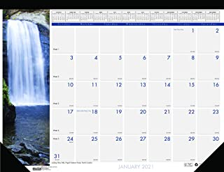 product image for House of Doolittle 2021 Monthly Desk Pad Calendar, Earthscapes Waterfalls, 22 x 17 Inches, January - December (HOD171-21)