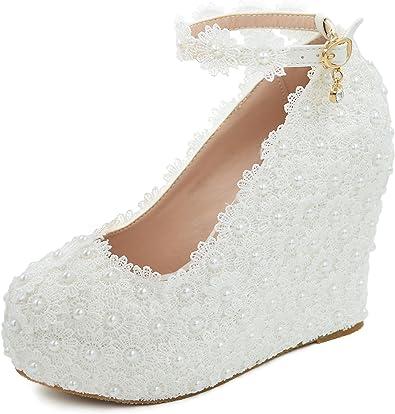 Amazon Com Melesh Lace Flower Pearls Wedge Platform High Heels