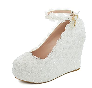 Melesh Lace Flower Pearls Wedge Platform High Heels Pump Bride Wedding Shoes  (8 B( 249d2b50367b