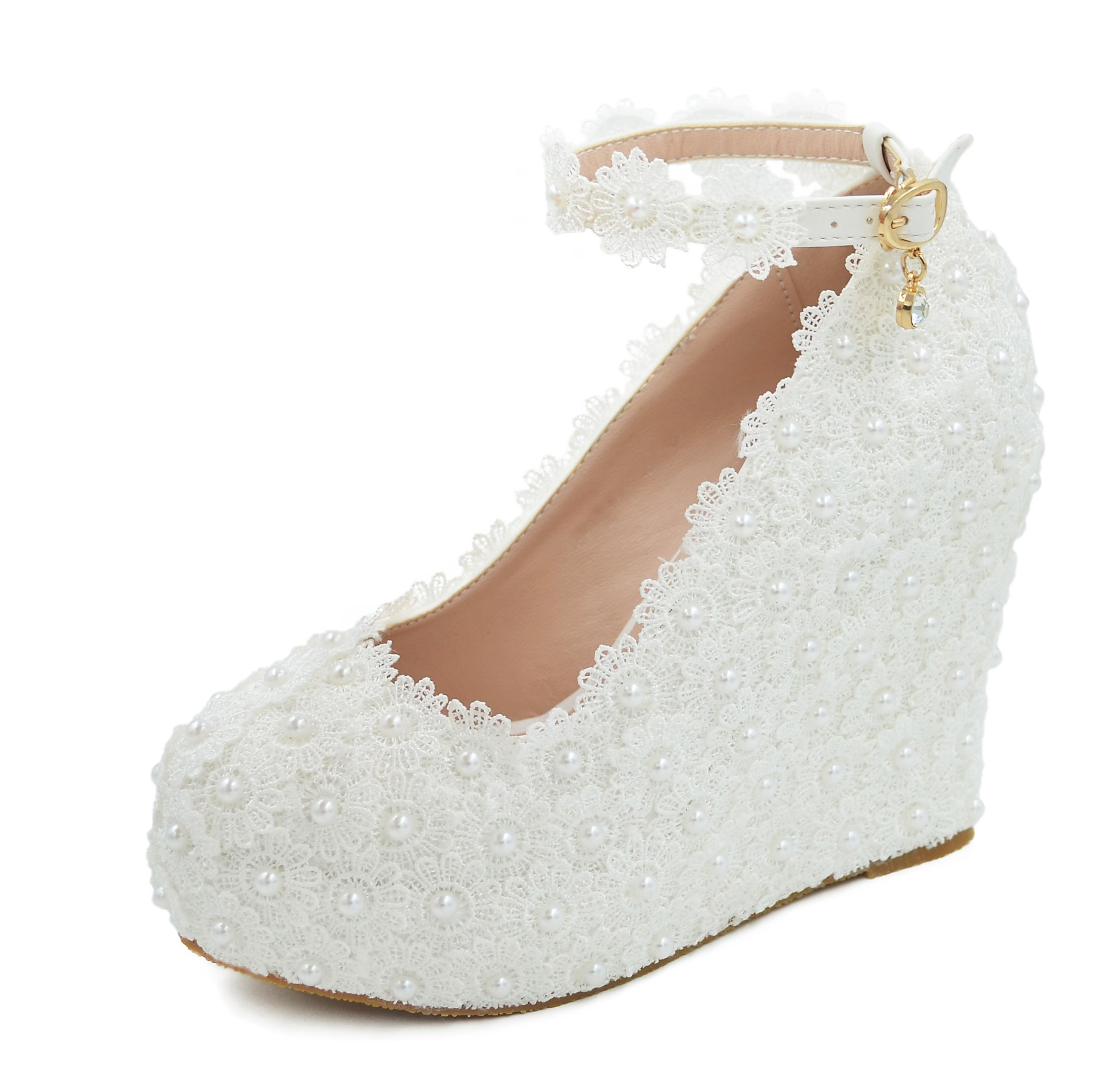 Melesh Lace Flower Pearls Wedge Platform High Heels Pump Bride Wedding Shoes (8.5 B(M) US, White)