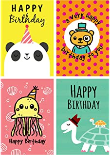 12 Fun Cartoon Animal Design Panda Turtle Octopus Bear Birthday Cards
