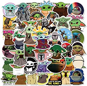Baby Yoda Sticker 50 pcs, The Mandalorian Pedro Pascal Star Wars Force Vinyl Decal for Water Bottles Laptop Stickers Skateboard Luggage ISB Lots of Choices for Hydro Mug