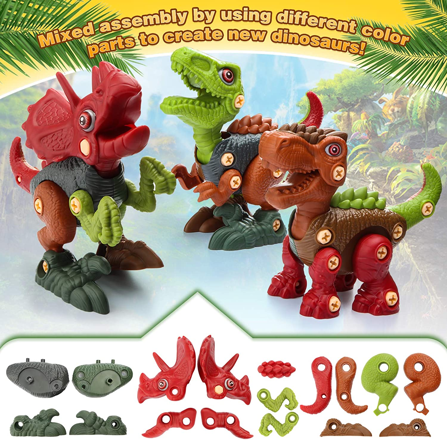 Jaolex Take Apart Dinosaur Toys 3 Pack Dino Set with Electric Drill and Screwdriver 90 Pieces Animal Dinosaur Figures Assembly Building Toy Construction STEM Learning for Kids 3-10 Year Old