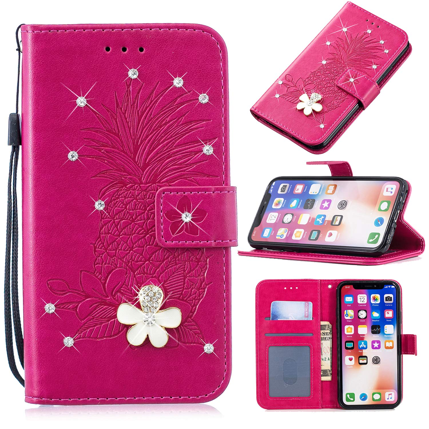 3D Crystal Flower Wallet Case for Samsung Galaxy S8,Aoucase Cute Pinapple Painted Diamond Magnetic Strap PU Leather Card Slot Shockproof Flip Stand Case with Black Dual-use Stylus,Hot Pink by Aoucase