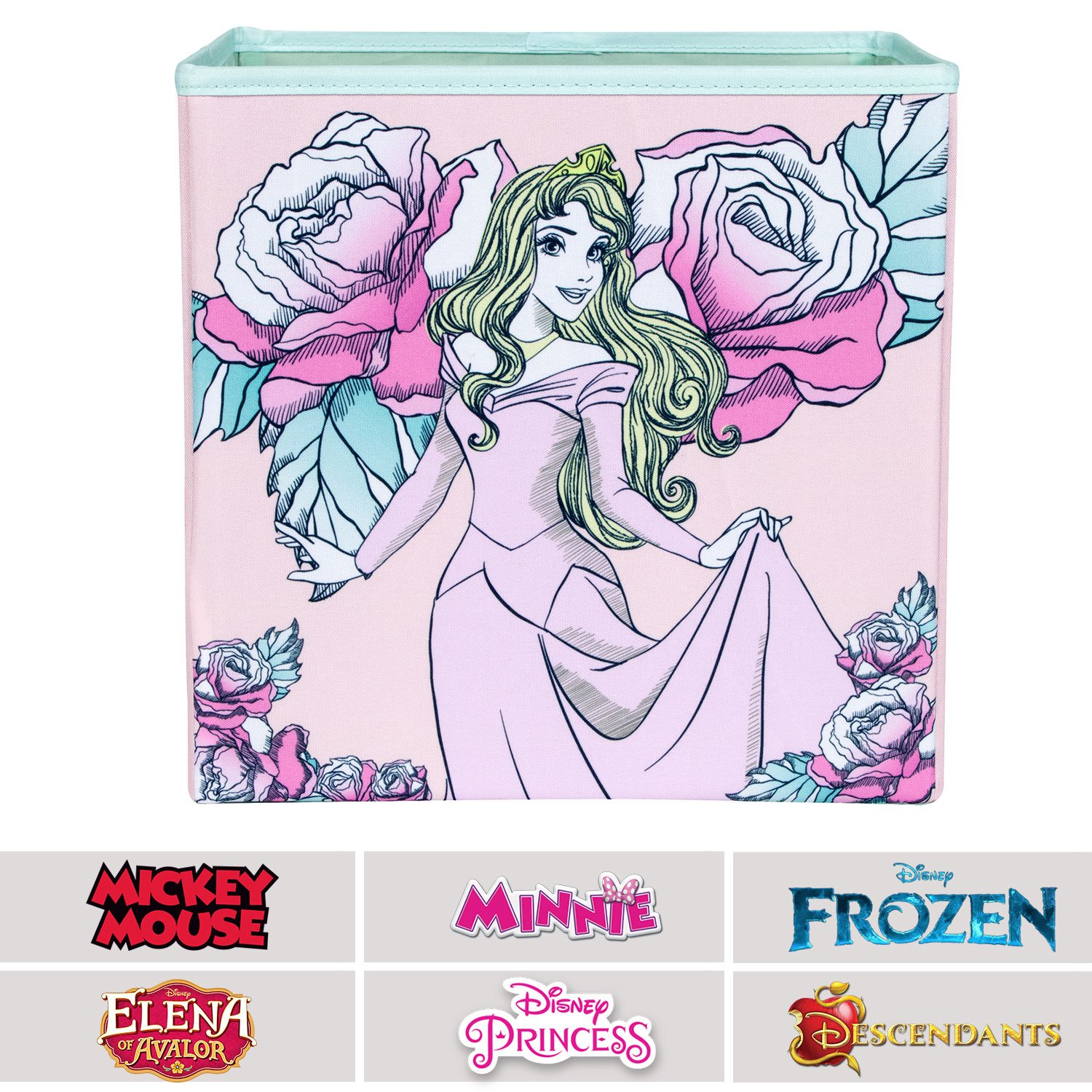 Sleeping Beauty Collapsible Storage Bin by Disney - Cube Organizer for Closet, Kids Bedroom Box, Nursery Chest - Foldable Home Decor Basket Container with Strong Handles and Design