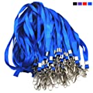 Blue Lanyard Bulk Lanyards for Id Badges Flat Lanyard with Badge Clip Swivel Hook Beebel 50 Pack