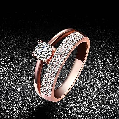 d421fc6bc9f4 Anillo de Circón Clásico Anillo de Diamantes de Oro Rosa Conjunto de Joyas