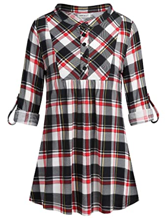 5f9f8753f5b7de Helloacc Womens Tunic Tops,Loose V Neck Petite Blouse Casual Tunics Long  Cuff Sleeve Fashion
