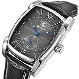 Mens Watches,Mens Quartz Wacth, Benyar Rectangle Watches Waterproof Chronograph Classic Calendar Date Window