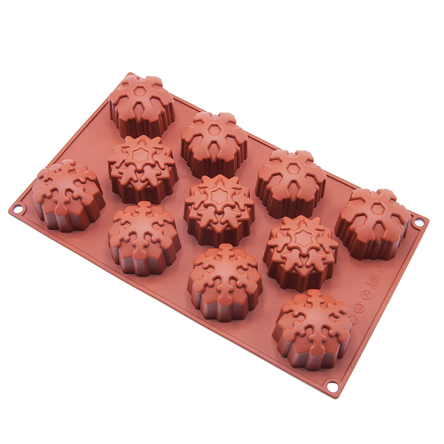 11-Cavity Snowflake Silicone Cake Mould Cake Pan & Chocolate Mould Non-Stick Silicone Baking Pan for Soap, Cookies, Jelly, Chocolate, Ice Cream, Muffin Joy House