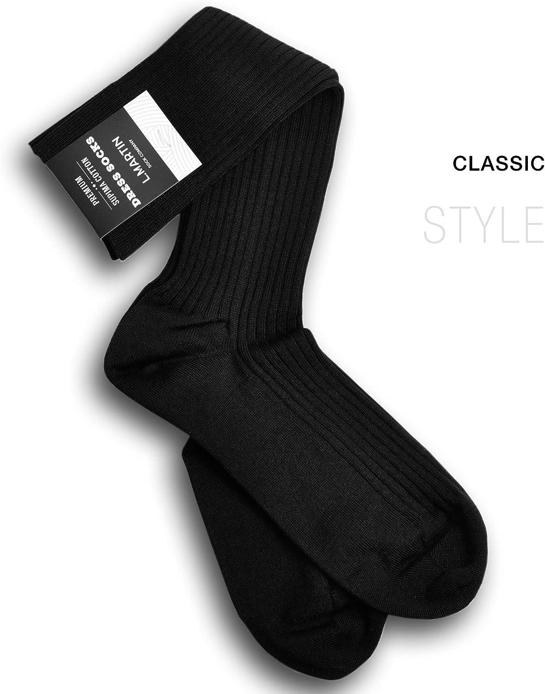L.Martin 99/%-100/% Pima Cotton Black Blue Brown Beige Crew Dress Socks Men Women