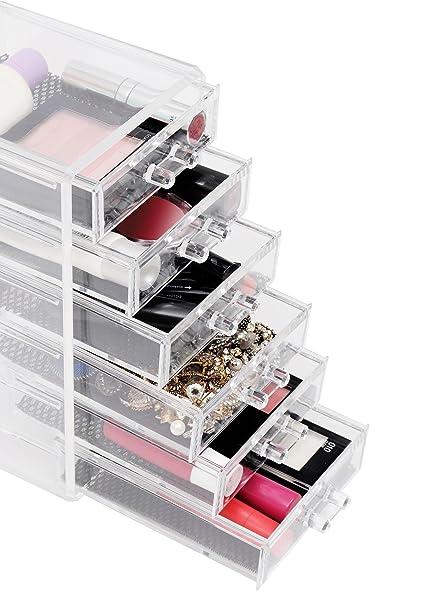 Cajonera Plástico Acrílico Transparente Organizar Guardar Maquillaje 6 Cajones por Kurtzy - Solución Almacenar Maquillaje, Sombra de Ojos, Lápiz ...