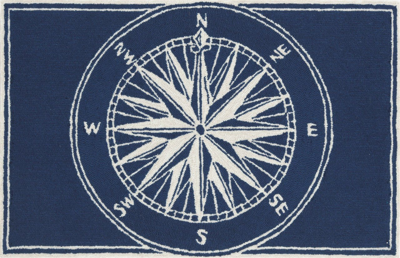 Liora Manne Front Porch Nautical Mariner Sailor Compass 2'6'' X 4' Grey/Ivory Indoor/Outdoor Rug Coastal