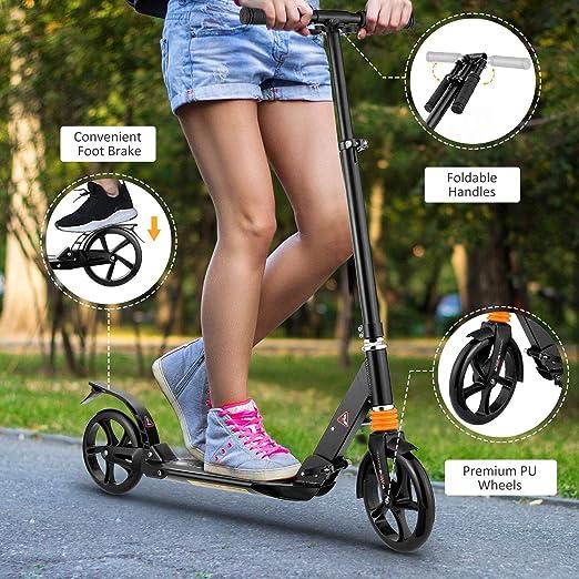 Details about  /Kick Scooter Foldable Wheels Teens Children Commuter Stunt 2 Colours