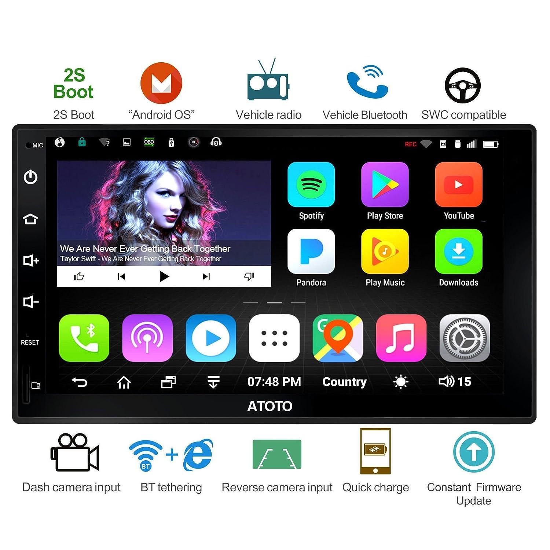 [Nouveau] ATOTO A6 Universal 2 Android Voiture stéréo Navigation avec Double Bluetooth - Standard A6Y2710S 1G / 16G Radio multimédia de Voiture, WiFi/BT Internet Tethering, Soutien 256G SD et Plus