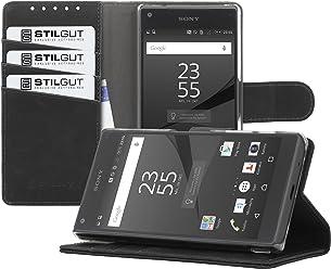 StilGut Talis, Housse Porte-Cartes avec Fonction Support pour Sony Xperia Z5 Compact, en Noir Vintage