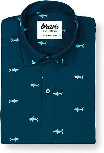 Brava Fabrics | Camisa Hombre Manga Corta Estampada | Camisa Azul para Hombre | Camisa Casual Regular Fit | 100% Algodón | Modelo Sharks: Amazon.es: Ropa y accesorios