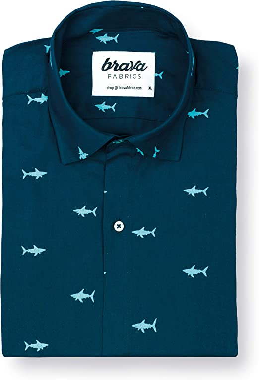 Brava Fabrics   Camisa Hombre Manga Corta Estampada   Camisa Azul para Hombre   Camisa Casual Regular Fit   100% Algodón   Modelo Sharks: Amazon.es: Ropa y accesorios